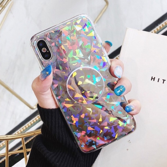 new product 407f5 7630d NEW iPhone X/XS Case Holographic Shape With Holder Boutique